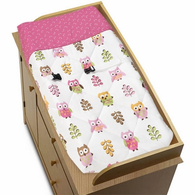 Owl Pink Changing Pad Cover