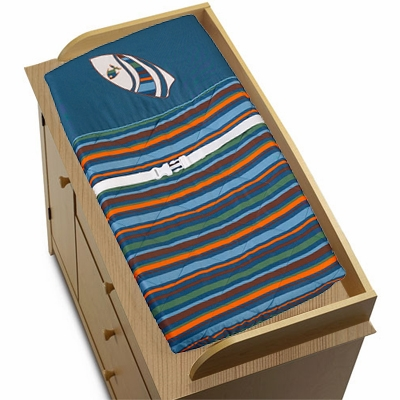 Surf Blue and Brown Changing Pad Cover