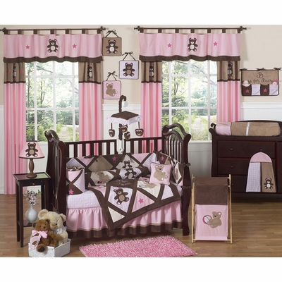 Teddy Bear Pink Crib Bedding Collection