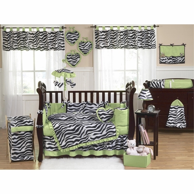 Zebra Lime Crib Bedding Collection