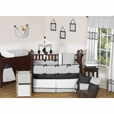 Zig Zag Black and Gray Crib Bedding Collection