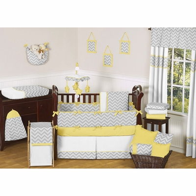 Zig Zag Yellow and Gray Crib Bedding Collection