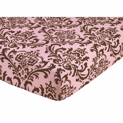 Nicole Crib Sheet - Damask Print