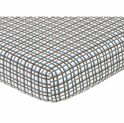 Surf Blue and Brown Collection Fitted Crib Sheet - Plaid Print