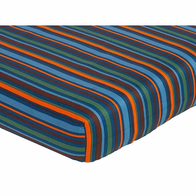 Surf Blue and Brown Collection Fitted Crib Sheet - Multi Stripe