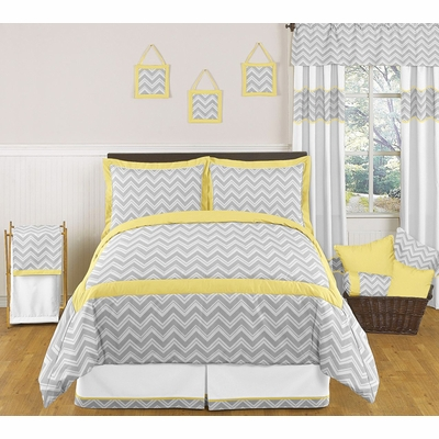 Zig Zag Yellow and Gray Full/Queen Bedding Collection