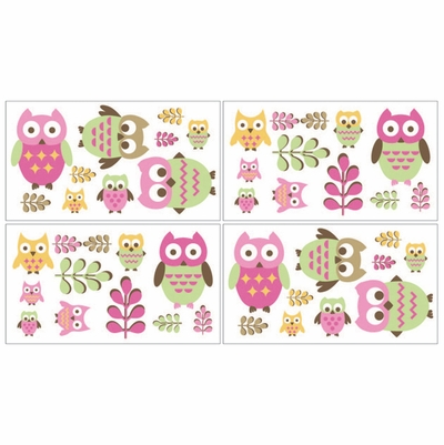 Owl Pink Wall Decals - Set of 4 Sheets