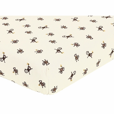 Monkey Collection Fitted Crib Sheet - Monkey Print