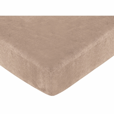 Pirate Treasure Cove Collection Fitted Crib Sheet - Solid Camel Micorsuede