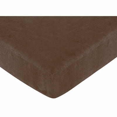 Soho Blue and Brown Crib Sheet - Chocolate Microsuede