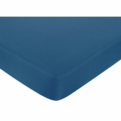 Surf Blue and Brown Collection Fitted Crib Sheet - Dark Blue