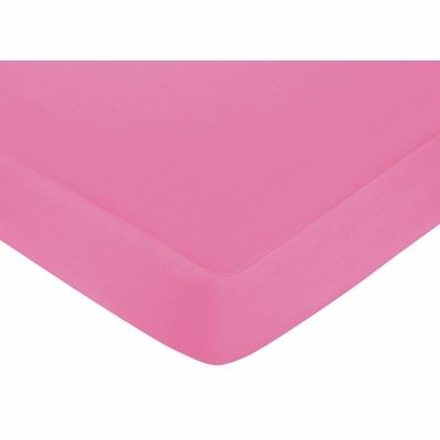 Surf Pink and Orange Collection Fitted Crib Sheet - Solid Pink