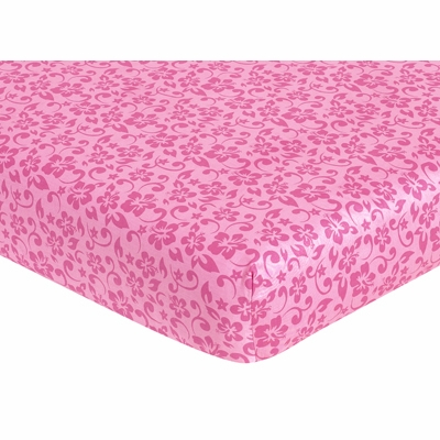 Surf Pink and Orange Collection Fitted Crib Sheet - Hibiscus Print