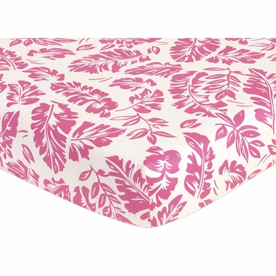 Surf Pink and Orange Collection Fitted Crib Sheet - Hawaiian Leaf Print