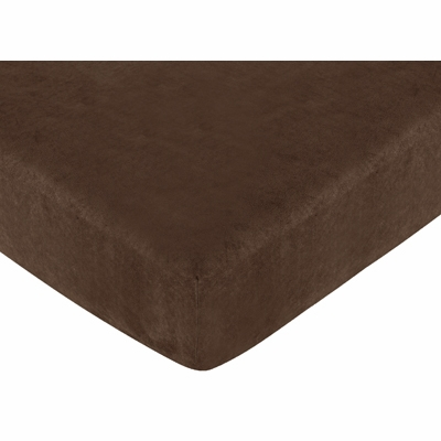 Teddy Bear Chocolate Collection Fitted Crib Sheet - Solid Chocolate Microsuede