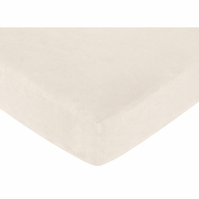 Teddy Bear Pink Collection Fitted Crib Sheet - Solid Cream Microsuede