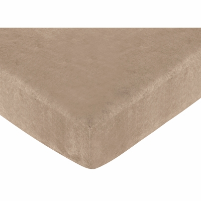 Teddy Bear Pink Collection Fitted Crib Sheet - Solid Camel Microsuede