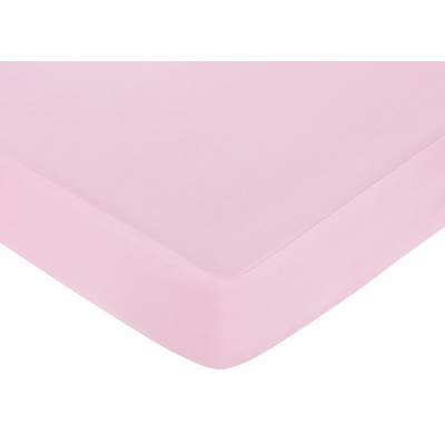 Teddy Bear Pink Collection Fitted Crib Sheet - Solid Pink
