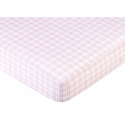 Teddy Bear Pink Collection Fitted Crib Sheet - Pink Plaid Print