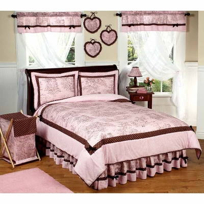 Pink Brown Toile Twin Bedding Collection