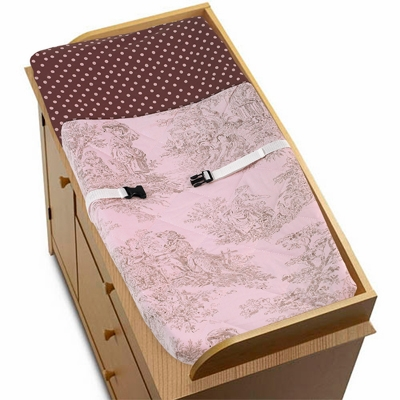 Pink Brown Toile Changing Pad Cover