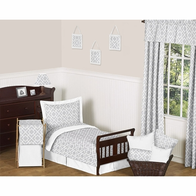 Diamond Gray and White Toddler Bedding Collection