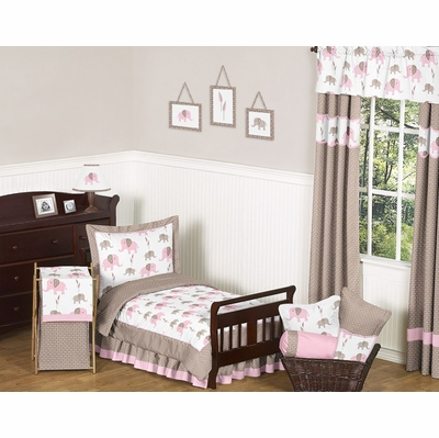 Elephant Pink Toddler Bedding Collection
