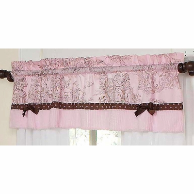 Pink Brown Toile Window Valance
