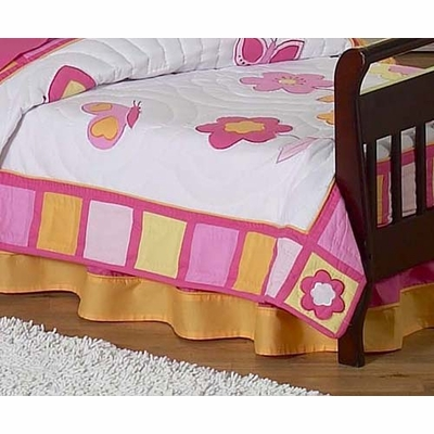 Butterfly Pink and Orange Toddler Bed Skirt