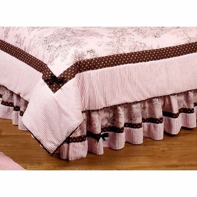 Pink Brown Toile Queen Bed Skirt