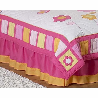Butterfly Pink and Orange Queen Bed Skirt