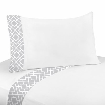 Diamond Gray and White Twin Sheet Set