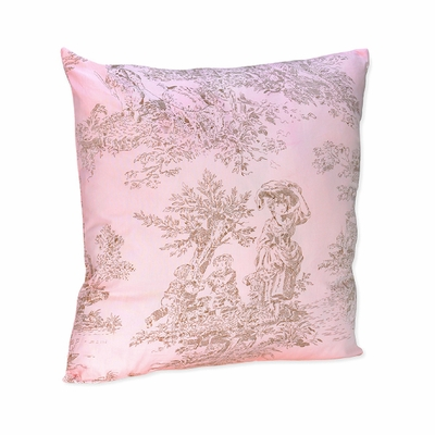 Pink Brown Toile Decorative Throw Pillow