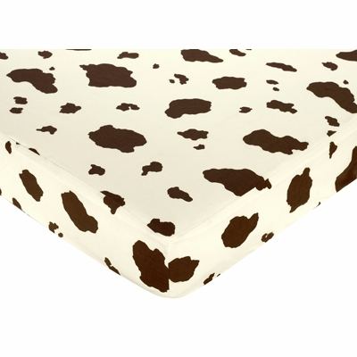 Cowgirl Collection Fitted Crib Sheet - Cow Print