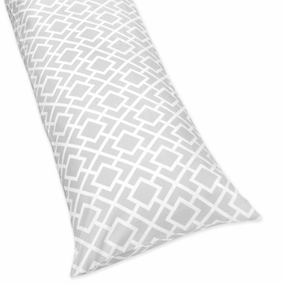 Diamond Gray and White Collection Full Length Body Pillow Cover