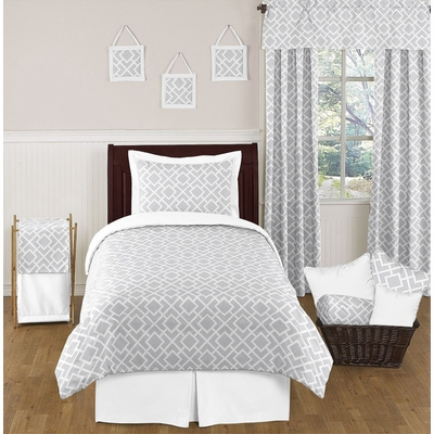 Diamond Gray and White Twin Bedding Collection