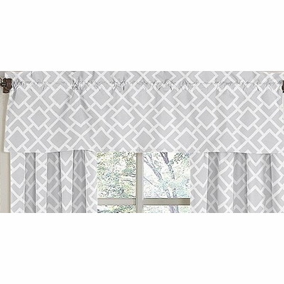 Diamond Gray and White Window Valance