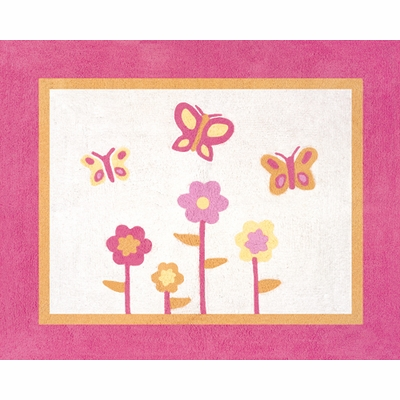 Butterfly Pink and Orange Accent Floor Rug