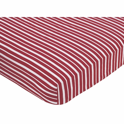 Aviator Collection Fitted Crib Sheet - Red Stripe Print