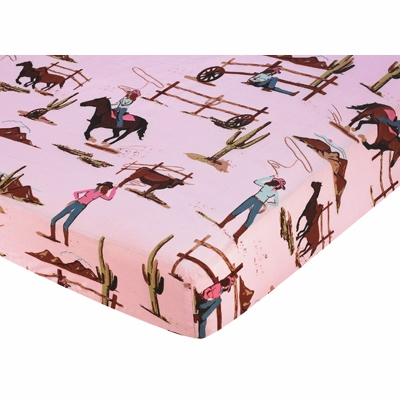 Cowgirl Collection Fitted Crib Sheet - Cowgirl Horse Print