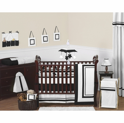 Hotel White and Black Crib Bedding Collection