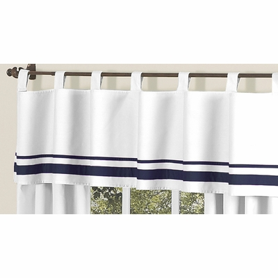 Hotel White and Navy Window Valance