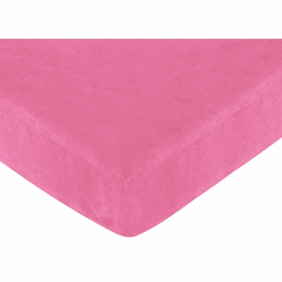 Cheetah Pink Collection Fitted Crib Sheet - Solid Pink Microsuede