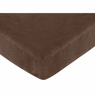 Construction Collection Fitted Crib Sheet - Chocolate Microsuede