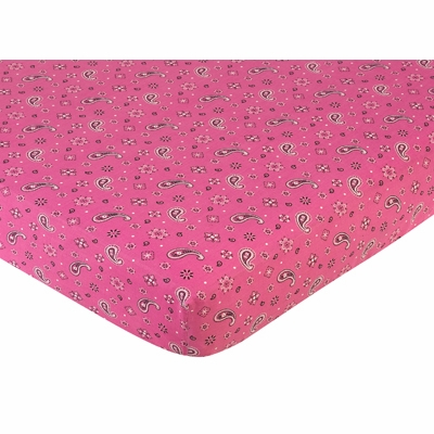 Cowgirl Collection Fitted Crib Sheet - Pink Bandana Print