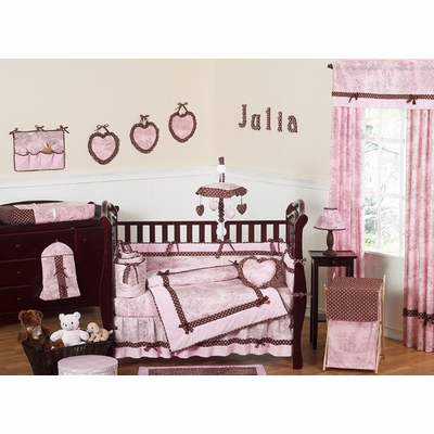 Pink Brown Toile Crib Bedding Collection