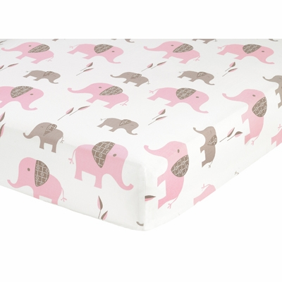Elephant Pink Crib Sheet - Elephant Print