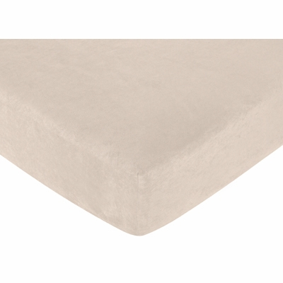 Forest Friends Collection Fitted Crib Sheet - Buff Microsuede
