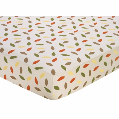 Forest Friends Collection Fitted Crib Sheet - Leaf Print
