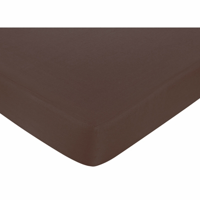 Hotel Blue and Brown Collection Crib Sheet - Solid Brown